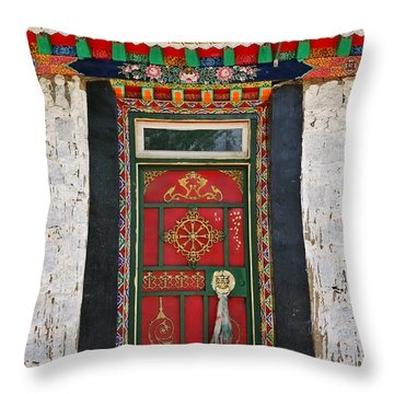 Tibet Red Door Throw Pillow