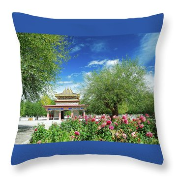 Throw Pillow featuring the photograph Tibet Scenery In Autumn by Carl Ning