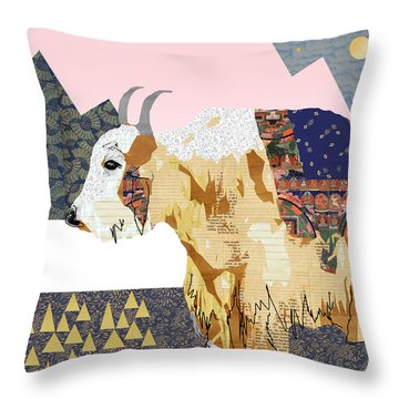 Tibet Yak Collage Throw Pillow by Claudia Schoen