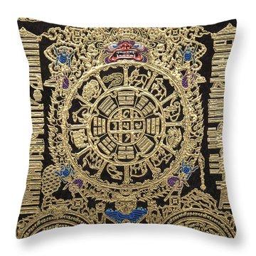 Tibetan Astrological Diagram Throw Pillow