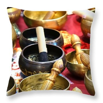 Tibetan Bronze Singing Bowls Throw Pillow