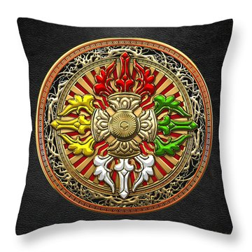 Tibetan Double Dorje Mandala Throw Pillow