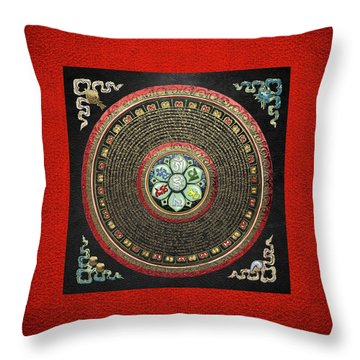 Tibetan Om Mantra Mandala In Gold On Black And Red Throw Pillow