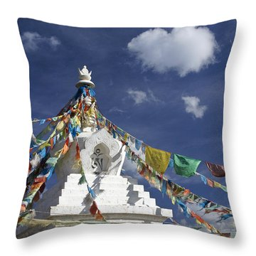 Tibetan Stupa With Prayer Flags Throw Pillow