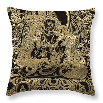 Tibetan Thangka - Vaishravana Throw Pillow
