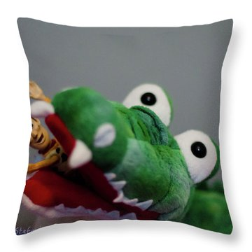 Tick Tock Crock Throw Pillow