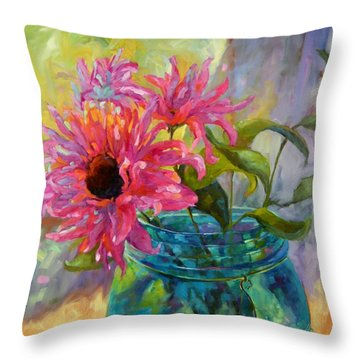Throw Pillow featuring the painting Tickled Pink by Chris Brandley