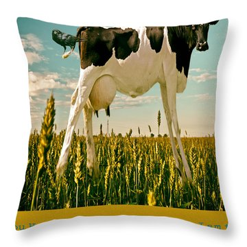 Ticklish Cow Throw Pillow by James Bethanis