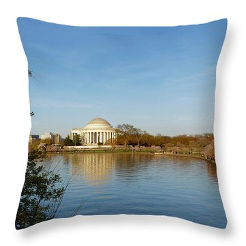 Tidal Basin And Jefferson Memorial Throw Pillow by Megan Cohen