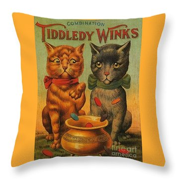 Tiddledy Winks Funny Victorian Cats Throw Pillow