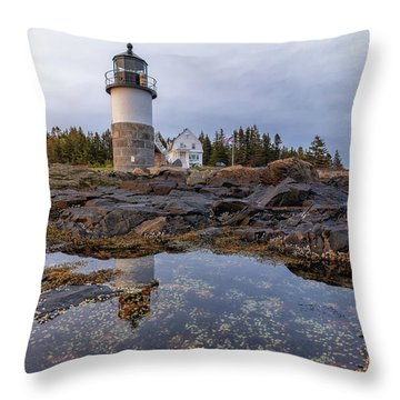 Tide Pools At Marshall Point Lighthouse Throw Pillow