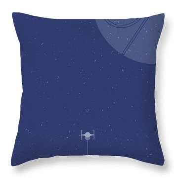 Tie Fighter Defends The Death Star Throw Pillow
