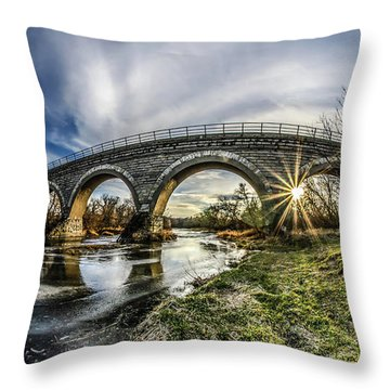 Tiffany Bridge Panorama Throw Pillow