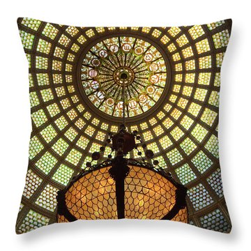 Tiffany Ceiling In The Chicago Cultural Center Throw Pillow