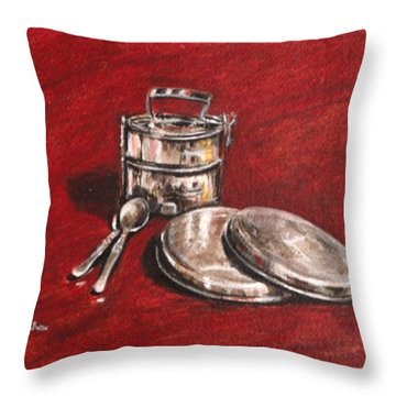 Tiffin Carrier - Still Life Throw Pillow by Usha Shantharam
