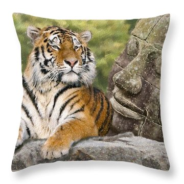 Tiger And Buddha Throw Pillow