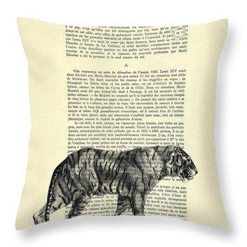 Tiger Black And White Illustration Throw Pillow