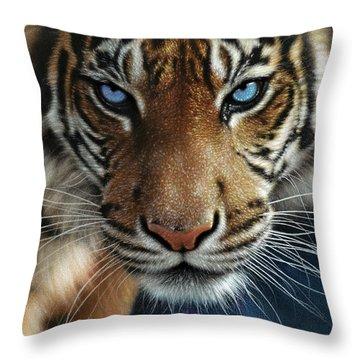 Tiger - Blue Eyes Throw Pillow