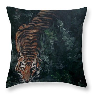 Throw Pillow featuring the painting Tiger by Bryan Bustard