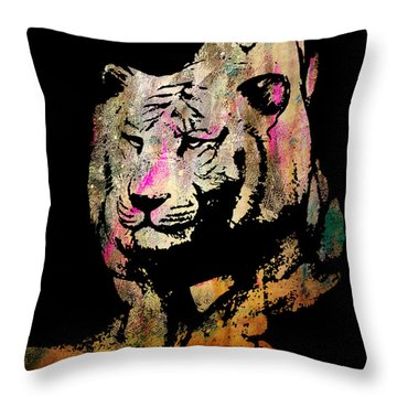 Throw Pillow featuring the drawing Tiger Collage #1 by Kim Gauge