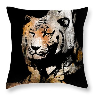 Throw Pillow featuring the drawing Tiger Collage #6 by Kim Gauge