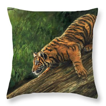 Tiger Descending Tree Throw Pillow by David Stribbling