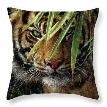 Tiger - Emerald Forest Throw Pillow