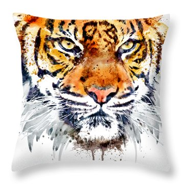 Throw Pillow featuring the mixed media Tiger Face Close-up by Marian Voicu
