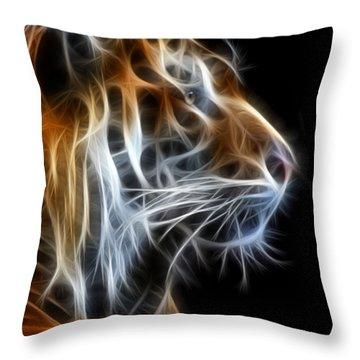 Tiger Fractal 2 Throw Pillow