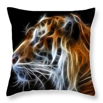 Tiger Fractal Throw Pillow