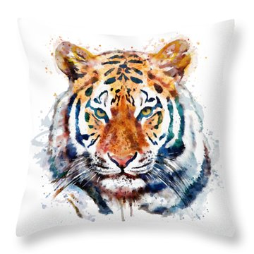 Tiger Head Watercolor Throw Pillow by Marian Voicu