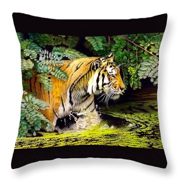 Tiger In The Sunderban Delta Throw Pillow
