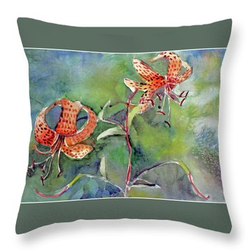 Tiger Lilies Throw Pillow by Mindy Newman