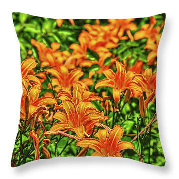 Tiger Lilies Throw Pillow by Pat Cook