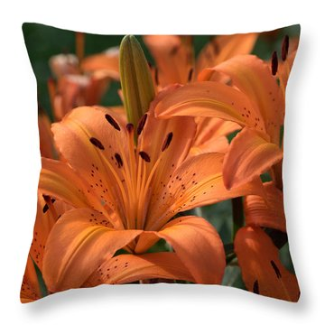 Tiger Lily Blossoms Throw Pillow
