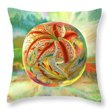 Throw Pillow featuring the digital art Tiger Lily Dream by Robin Moline