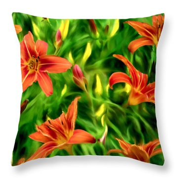 Tiger Lily Tangle Throw Pillow