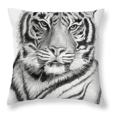 Tiger Throw Pillow by Mary Rogers