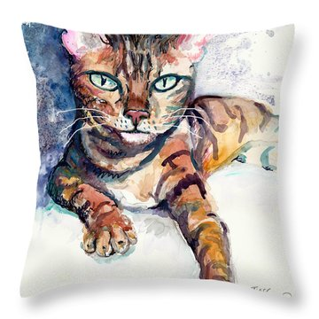 Tiger Throw Pillow by Melinda Dare Benfield