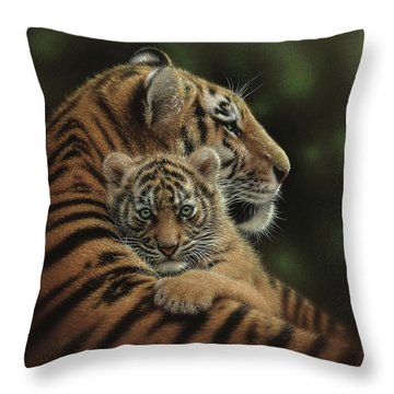 Tiger Mother And Cub - Cherished Throw Pillow