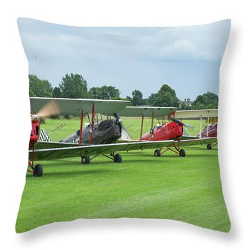 Throw Pillow featuring the photograph Tiger Moths Formation Shutdown by Gary Eason