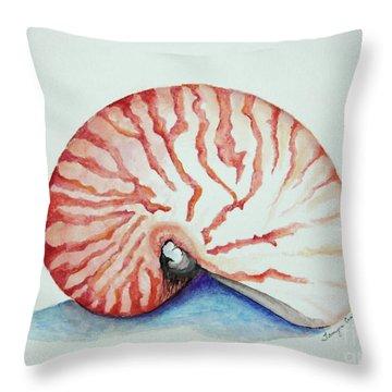 Tiger Nautilus Seashell Throw Pillow