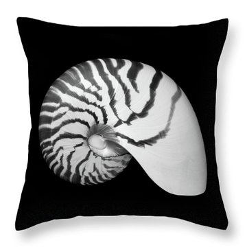 Tiger Nautilus Shell Throw Pillow by Jim Hughes