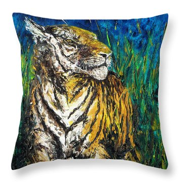 Tiger Night Hunt Throw Pillow by Shirley Heyn