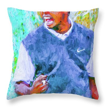 Throw Pillow featuring the photograph Tiger One Two Three Painting Digital Golfer by David Haskett