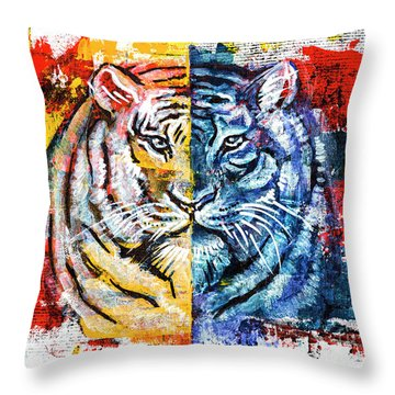 Tiger, Original Acrylic Painting Throw Pillow