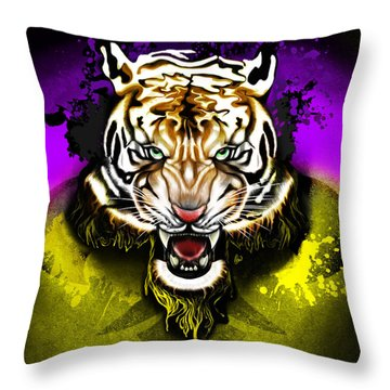 Tiger Rag Throw Pillow by AC Williams