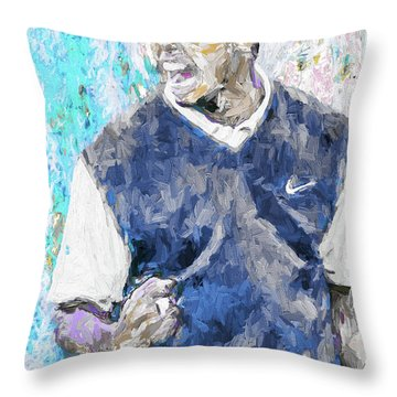 Throw Pillow featuring the photograph Tiger Says 2 Painting Digital Golf by David Haskett