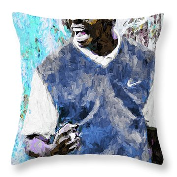 Throw Pillow featuring the photograph Tiger Says Digital Painting Golf by David Haskett