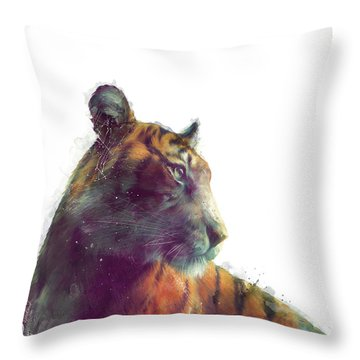 Tiger // Solace - White Background Throw Pillow by Amy Hamilton
